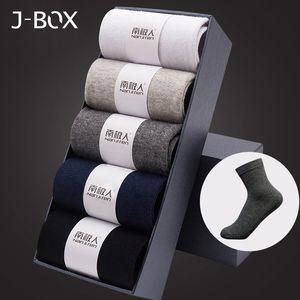J-box 5 pares Muitas meias de algodão dos homens 2019 novos estilos negros homens de negócios meias respirável outono inverno para o tamanho dos EUA 12