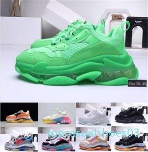 Boutique Paris Balenciaga Shoes Triple S homens e mulheres moda casual nitrogênio combinação sola de cristal inferior pai sapatos casuais 36-45 T03