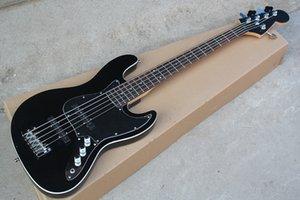 Guitare basse électrique 5 cordes noire personnalisée avec pickguard noir, pont à double rocher, personnalisable