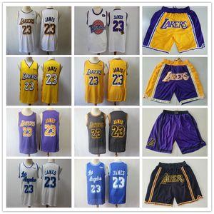 Mens LosAngelesLakersThrowback LeBron James 23 Basketball pantaloncini da basket maglie nero giallo viola bianco blu buono