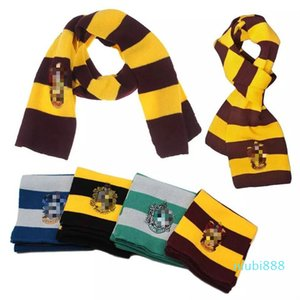 2020 Scarf Gryffindor Slytherin School Winter Knitted Scarves With Badge Neckscarf Cosplay Costume Striped Scarf Christmas INS.