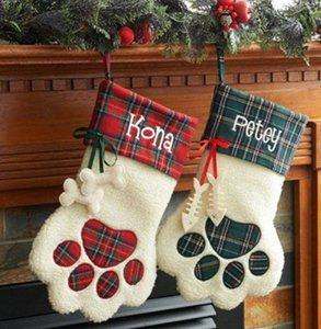 100pcs lot free shipping Dog plaid Christmas stocking Personalized paw stocking X-mas gift bags animal stocking