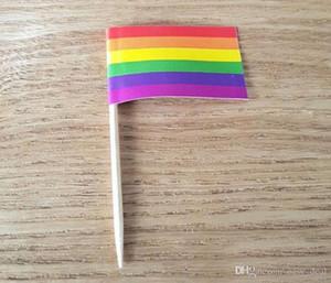 Sticks Rainbow Flag stuzzicadenti Lesbica Gay Pride LGBT bandiera della bandierina del cooktail Picks Cupcake cake topper Decoration ZC1817