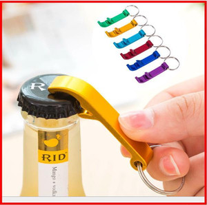 2019 nuova birra portatile Bottle Opener Keychain 4 in 1 Pocket Aluminium Beer Bottle Opener Can 6 colori favore della festa nuziale Gifts