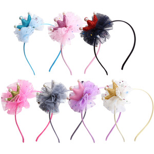 Cute Girl Crown Hairband Fashion Kids Princess Flower Hairwear Baby Ribbon Headband Childrens Party Hair Accessories TTA1648