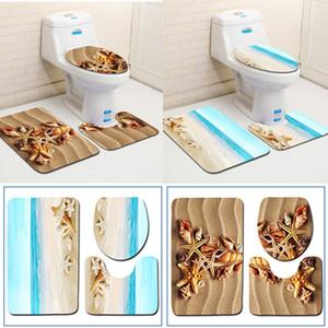 3 Unids / set Alfombra de baño Conjunto Alfombra de baño Ocean World Flannel Antideslizante Alfombra de baño Alfombras Decoración para el hogar Baño antideslizante