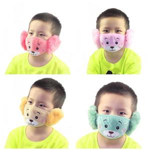 Máscara Facial Urso dos desenhos animados Criança Com Plush Ear Proteção grosso e quente Máscaras Crianças Boca Inverno Boca-Muffle Para Party Favors 2 9jzj E1
