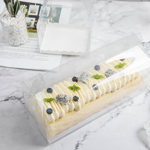 Trasparente torta del rullo Packaging scatola con la maniglia Eco-friendly di plastica trasparente Cheese Cake Box cottura swiss roll Box