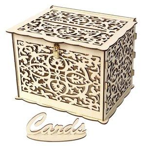 DIY mariage carte-cadeau Creative Box Tirelire en bois avec serrure de mariage Décoration Party cadeau d'anniversaire pour les clients