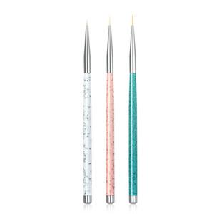 NA003 3 PCS Set Nail Art Liner Malpinsel 5mm 8mm 11mm Nagel Zeichnung Punktierung Pinsel UV Gel Acryl Maniküre Nails Werkzeug