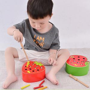 3D Montessori Wooden Toys Caterpillar come Apple crianças catch correspondente Worms Interativo Par primeiros jogos Educacional Toy Math