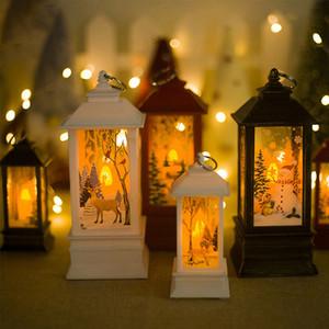 Santa Claus, muñeco de nieve, Diseño Elk Lanterns Titular colgante de la Navidad del partido de la vela vendimia de la Navidad del ornamento de la decoración