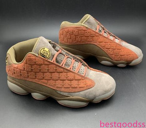 With CLOT X 13 Low Terracotta Warriors Men basketball shoes 13s Low Sports Sneakers AT3102-200 Grey And Olive Suede Athletic Top Quality