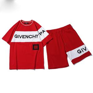 2019 GIV Sport Tracksuit 유방 반팔 티셔츠 반팔 셔츠 두 벌 가슴 유방 바지 스포츠 슈트 여자