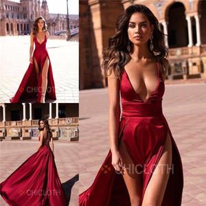 SATILIK Ucuz !!! 2019 Yeni Seksi Koyu Kırmızı Bölünmüş Abiye A Hattı Salıncak Kat Uzunluk Kadınlar Parti Casual Elbise Balo Abiye Backless BC1402_
