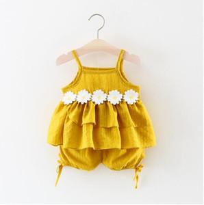 Venta caliente Ropa para niños 2019 Verano Comercio exterior Vestidos para niñas Coreano Sling Tops Shorts Dos conjuntos Ropa para bebés
