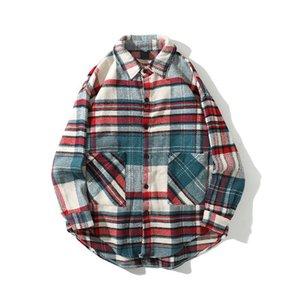 Turn-down Collar Retro flanella a quadri camice di Harajuku Hip Hop a scacchi Camicie maschile a maniche lunghe camicetta
