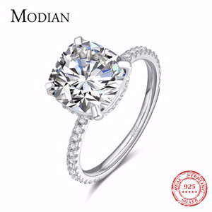 Modian Luxury Genuine 925 Sterling Silver Ring Classic 4ct 10 Hearts Arrows Zircon Jewelry For Women Engagement Wedding Rings C19041601