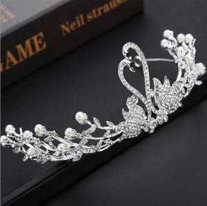 Корейский невеста тиара лебедь аксессуары для волос жемчужный горный хрусталь серебряные белые короны свадебные головные уборы простые короны свадебные аксессуары