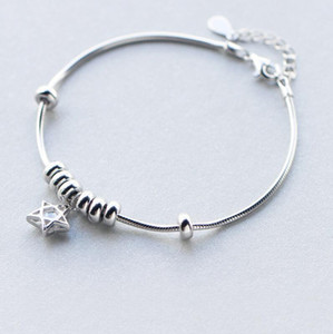 jewelry S925 sterling silver bracelets five-pointed star ciecles bracelets for women hot fashion free of shipping