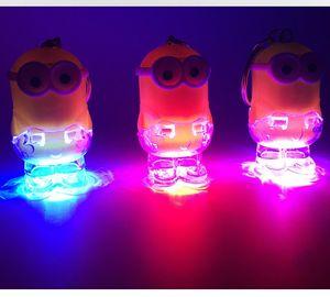 Regalo New Minion LED portachiavi anello portachiavi Kevin Bob Torcia Flashlight giocattolo del suono Cattivissimo Me Bambini promozione di Natale