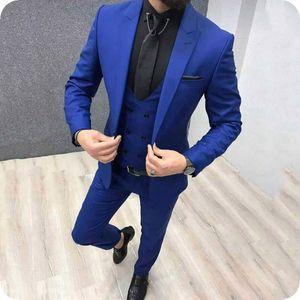 Royal Blue Homens Ternos Calças Ternos Prom Man Blazers Preto do noivo do casamento do smoking Slim Fit Terno Masculino repicado lapela 3piece Costume Homme
