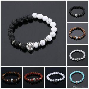 Bracelet à breloques Hommes Bracelets Plaqué Or Léopard Mat Onyx Pierres Naturelles Pour Femmes Hommes Bracelet De Perles