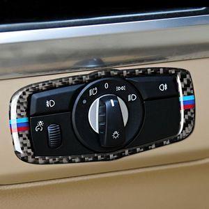 BMW E70 E71 탄소 섬유 자동차 헤드 램프 스위치 트림 다시 끼 우고 스티커 스위치 프레임 장식 스티커 X5 X6의 2011년에서 2015년까지 자동차 인테리어