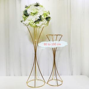 Vasos brilhante de metal ouro Flor de altura suporte de metal Estrada casamento chumbo Centerpieces tabela Flores da cremalheira Crystal Ball Stand For Partido Home Decor