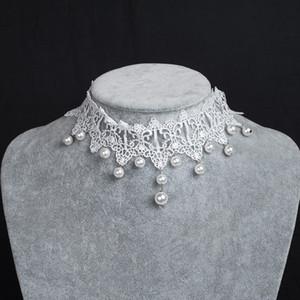 Белый готический кружева жемчуг чокеры кисточки новинка свадебные украшения свадебный танец женщины ожерелья ну вечеринку чокеры дешевые в наличии AL2492