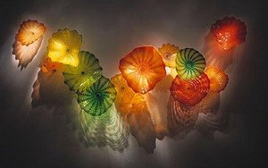 OEM Boca Borosilicato Borosilicato Placas de Flores de Vidrio Arte Craft Lobby Decoración Placas de Vidrio Pared Art Deco