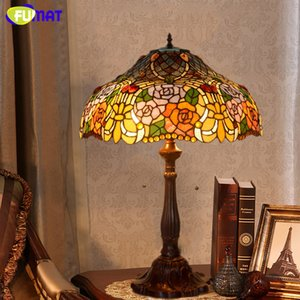 FUMAT Stained Glass Lamp High Quality Rose Shade Table Lamp Living Room Bedside Stand Lamp Wedding Light Fixtures Table Lights