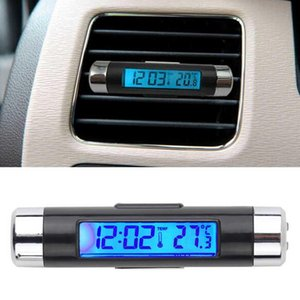 Portable 2 en 1 coche del LCD del reloj digital de la temperatura de la visualización electrónica del termómetro del reloj del coche Automotive luz de fondo azul con el clip