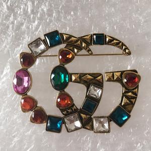 2,020 grande cristalina de lujo de la nueva vendimia de la broche de Mujeres Letra G diseñador de la broche de traje de solapa joyas de moda los accesorios del regalo para el amor