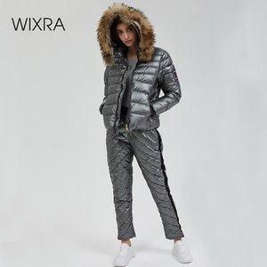 Abiti Wixra Inverno Parka con cappuccio 2 set pezzo elegante caldo Streetwear Ski Suit Etero Zipper spessa donne casuali Tute Y200110