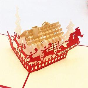 Christmas House 3D üç boyutlu yaratıcı içi boş Noel tebrik kartı Yılbaşı tebrik kartı HK017 özelleştirilebilir