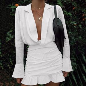 Womail Dress Women's Vintage Solid Dresses Turn-down Collar Long Sleeve Ladies V-neck Ruffled Mini Dress Beautiful Elegant