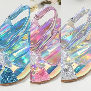 Girls' high and Crystal sandals heel sandals 2020 baby princess shoes Children's crystal shoes