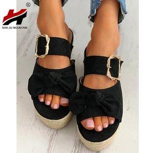 NAN JIU MOUNTAIN 2020 Women's Summer Mid Heel Shoes Outdoor Slippers Buckle Sandals Open Toe Fashion Plus Size 43