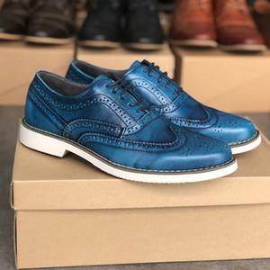 Vestido de partido de los hombres de cuero de zapatos de estilo Brogues Brock vendimia Oxfords Zapatos talladas ante dentro de boda de lujo de zapatos zapatos EU39-46