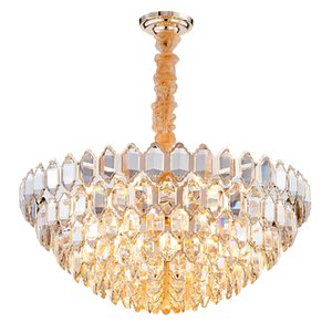 Postmodern luxury crystal chandelier living room simple round designer golden villa dining room lamp crystals for chandeliers
