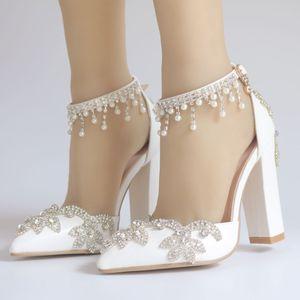 perle strass pompes talon chunky Pointu de luxe dame chaussures robe blanche avec une taille de bride à la cheville 35-41