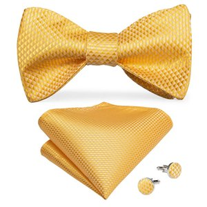 Hi-Tie Bow Tie Set di lusso della scala di pesci giallo solido in seta da annodare Uomini Bow Tie per goccia Wedding Trasporto libero LH-0080