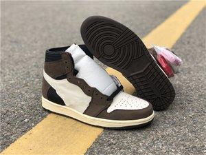 Le migliori scarpe di qualità 1 High Olimpiadi Cactus Jack pallacanestro 1s Scarpe Sail Nero Testa di Mocha Moda all'aria aperta con la scatola