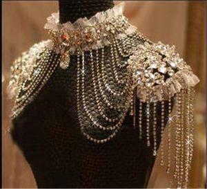Luxuoso Bling Bling cristal frisado nupcial ombro cadeia de jóias envoltório de casamento Liga strass casamento Acessórios Corpo casamento da corrente