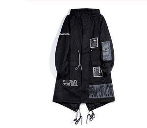 Gothic Long тренчкот Мужчины хип-хоп с капюшоном Ветровка куртки Мода черный Streetwear Swag Overcoats
