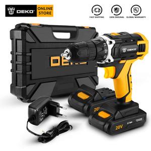 DEKO Sharker 20V Elektro-Akku-Bohrschrauber mit LED-Licht-Lithium-Batterie Mini Power Treiber für Holzverarbeitung Startseite DIY Schraubendreher
