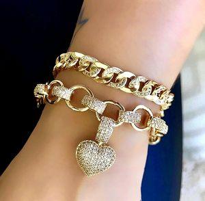 Braccialetto a forma di cuore di lusso completo di alta qualità cubic zirconia color oro charms catena bracciali braccialetti per le donne gioielli di moda J190722