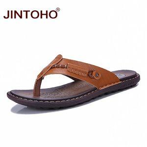 JINTOHO Yaz Plaj Ayakkabı Terlikler Terlik İçin Erkek Moda Deri Terlik Yaz çevir Ayakkabıları flip-flop Slipper Floplar