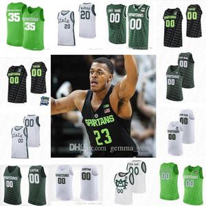 Customized Michigan State Spartans College Basketball 1 Joshua Langford 5 Cassius Winston 20 Matt McQuaid 2019 Final Four MSU Sewn Jerseys